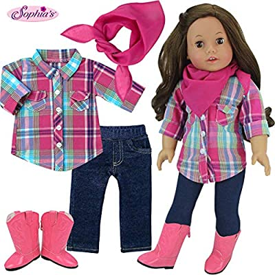 Sophia's Western Look for Dolls, 18 Inch Doll Plaid Blouse, Denim Jeggings, Bandana and Cowgirl Boots: Toys & Games
