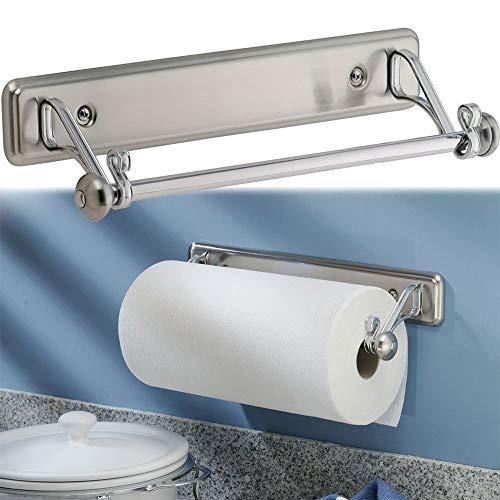 Kitchen Paper Towel Roll Holder Wall Mount Under Cabinet Rod