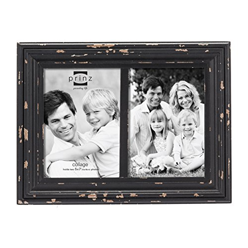 Prinz 2-Opening Carson Distressed Wood Frame, 5 by 7-Inch, Black