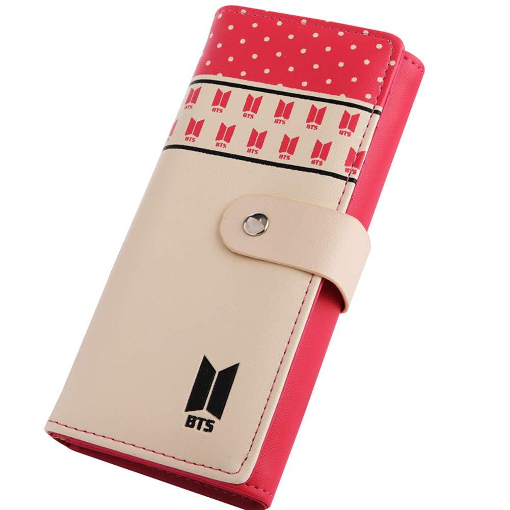 YEeyuTrwd Kpop BTS Liebe Dich PU Lange Brieftasche für Mädchen Frauen Brieftasche Geld Kartenhalter Mode Clutch Geldbörse
