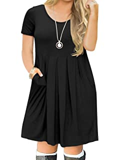 7a3d7941611 POSESHE Women s L-4XL Casual Short Sleeve Pleated Plus Size T Shirt Dress  with Pockets