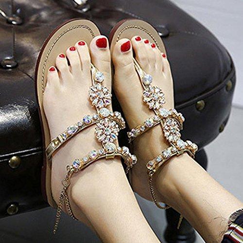 Sandaletten Sandalen Schuhe Damen Zehentrenner Strass Strap Sandalen T Bequeme Sommer Golden Damenschuhe Glänzende Dasongff Bohemian Flat Gladiator A5qxBtzwZ
