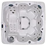 Home and Garden Spas HG71A 6 Person 71 Outdoor Spa with Mp3 Auxiliary Output & Ozone, 82'' x 82'' x 35'', Sterling White