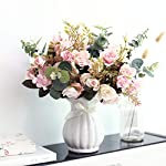 YILIYAJIA-Artificial-Rose-Bouquets-with-Ceramics-Vase-Fake-Silk-Rose-Flowers-Decoration-for-Table-Home-Office-Wedding-Light-Pink