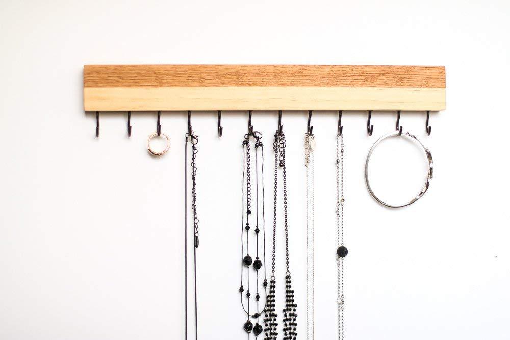 Oak & Pine Wood Wall Jewelry Organizer/Necklace Handmade Holder Hooks Key Holder Hanging Stand Rustic Decor/Best gift idea / 2 Combo hooks on bottom