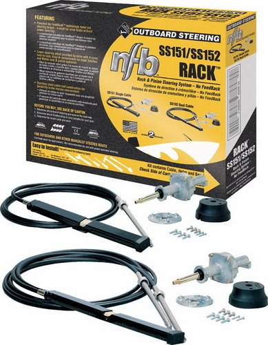 Rack Dual Cable - SeaStar SS15215 15' No Feedback Pro Rack Steering Kit With Dual Steering Cable