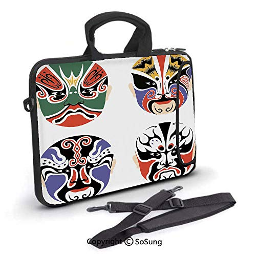 17 inch Laptop Case,Traditional Chinese Cultural Opera Mask Set Collection Asian Tribal Decorative Neoprene Laptop Shoulder Bag Sleeve Case with Handle and Carrying & External Side Pocket,for Netbook/ (Cute Asian Shoulder Bags)