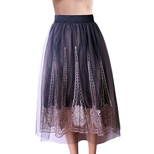 Mena UK Womens 1950s Vintage bordado encaje de rodilla-Longitud Floral Swing completo círculo plisado faldas 15 colores un tamaño 831819 ( Color : 8323-Black , Tamaño : One Size ) 8318-Gray