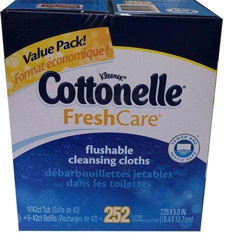 Kleenex Flushable Wipes (Kleenex Cottonelle Fresh Care Flushable Cleansing Cloths 252ct)