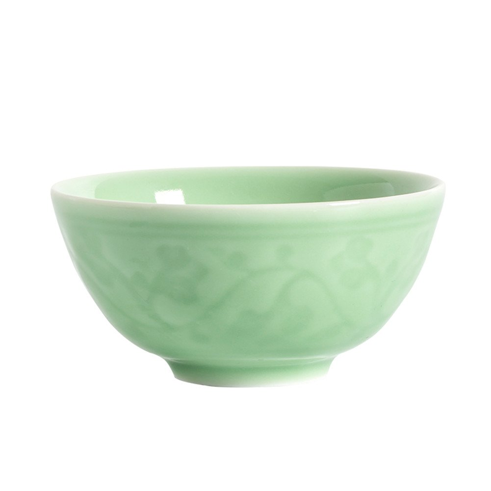 Chinese Celadon 4.5Inch Rice Bowl Microwave Safe Bowls with Decoration Embossment (Dragon and Phoenix) Handmade Celadon