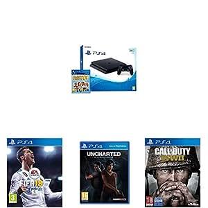 PlayStation 4 (PS4) - Consola De 500 GB, Color Negro + Voucher ¡Has Sido Tú! + FIFA 18 - Edición Estándar + Call Of Duty WWII + Uncharted: El Legado Perdido