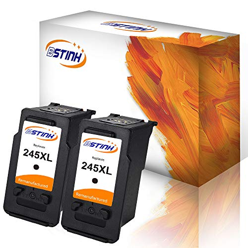 BSTINK Remanufactured for Canon PG-245XL 245XL Ink Cartridges 2 Black Shows Accurate Ink Level, Used in Canon PIXMA MG2520 MG2920 MG2922 MG2924 MG2420 MG2522 MG2525 MG3020 MG2555 MX490 MX492 Printer (00 Cartridge Black)
