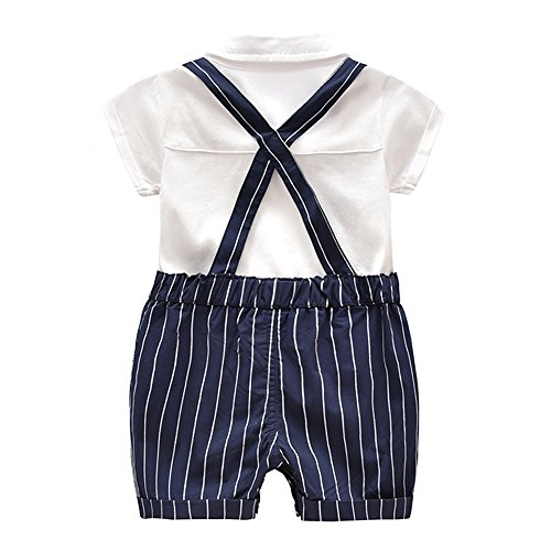 Ding-dong Baby Boy Summer Cotton Gentleman Short Sleeve Bowtie Romper+Striped Suspenders Shorts Outfit Set£¨3-6M£ by Ding Dong (Image #2)