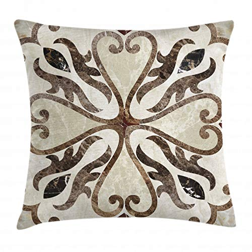 Lunarable Abstract Throw Pillow Cushion Cover, Nostalgic Floor Motif with Swirled Floral Heart Shaped Figures Artwork Print, Decorative Square Accent Pillow Case, 40 X 40 Inches, Beige Brown