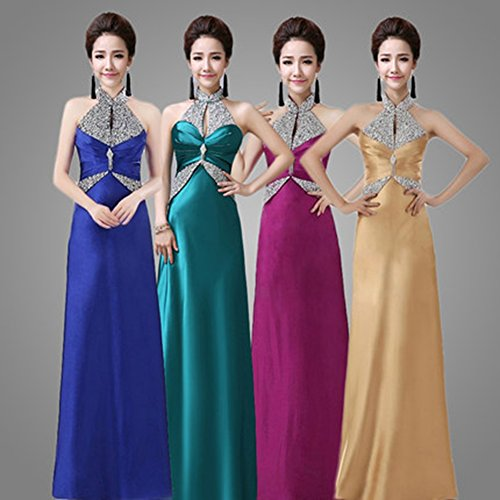 Halter Satin Bridal Drasawee Sequins Sexy Party Womens Sparkly Long Prom Turquoise Dress qIpw1B6