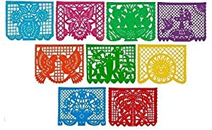 Festive Large PLASTIC Mexican Papel Picado Banner (15 Feet Long) Designs as Pictured from Paper Full of Wishes