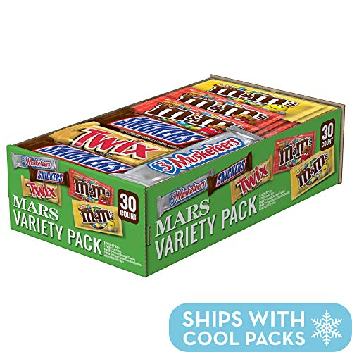 SNICKERS, M&M'S, 3 MUSKETEERS & TWIX Full Size Bars Variety Mix, 30-Count Box -