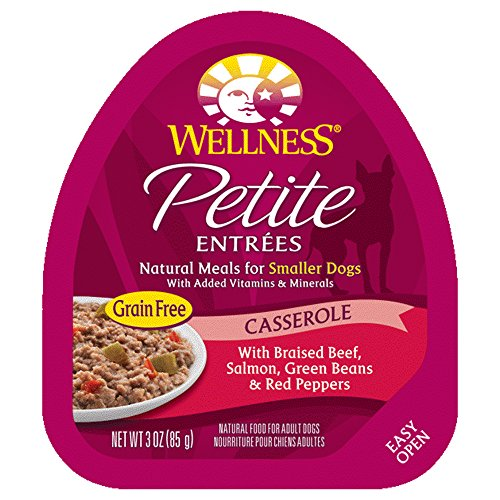 Wellness Petite Entrees Casserole Natural Grain Free Wet Small Breed Dog Food, Braised Beef & Salmon, 3-Ounce Cup (Pack Of 24)