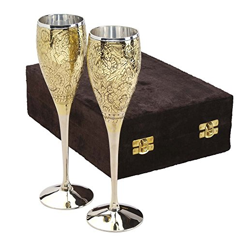 Set Of Two Silver-Plated Goblets With Velvet Box 'Embossed Silver-Plated Goblets'