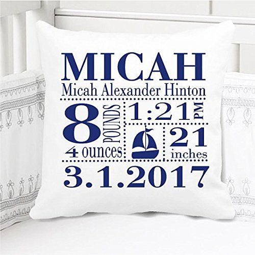 Sew Cute by Me Designs Original Birth Announcement Pillow for Baby Boys Nursery - Sailboat in Navy - Includes Personalized Pillowcase and Pillow Insert 14