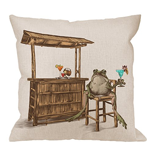 HGOD DESIGNS Toad Pillow Cover,Decorative Throw Pillow funny Toad Sits On the Bar and Drink Pillow cases Cotton Linen Outdoor Indoor Square Cushion Covers For Home Sofa couch 18x18 inch Brown ()