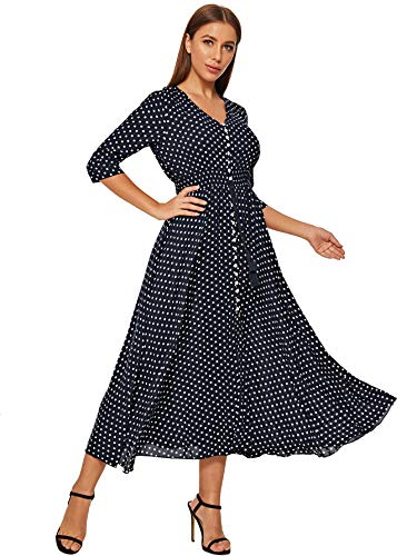Milumia Women's V Neck Button Up Flared Flowy Party A Line Maxi Dress