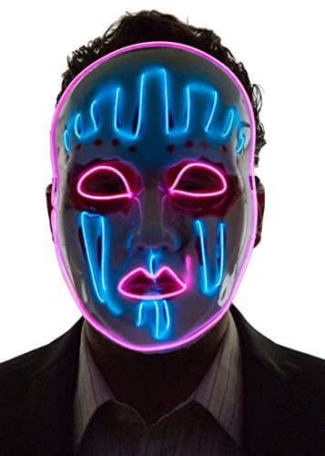 Stick Man Glow In The Dark Costume (Neon Nightlife Men's Light Up Painted Face Puppet Mask, Blue & Pink)