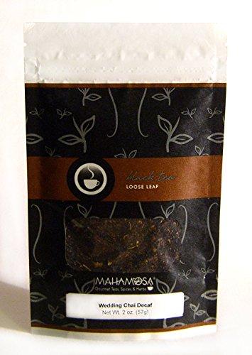 Mahamosa Wedding Chai Decaf Tea 2 oz - Loose Leaf Decaffeinated Black Tea (with crushed green cardamom, cardamom seeds and vanilla flavor) (Vanilla Tea Loose Leaf Mahamosa)