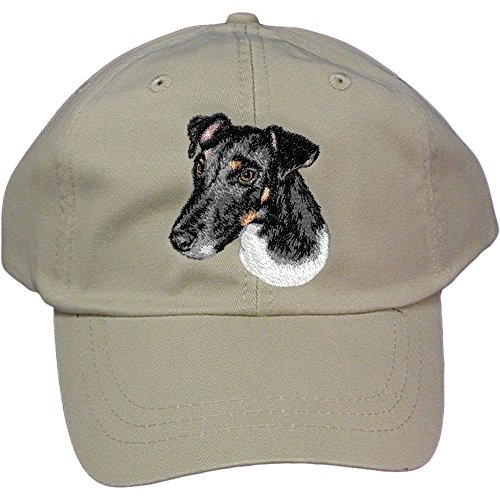 Cherrybrook Dog Breed Embroidered Adams Cotton Twill Caps - Stone - Smooth Fox (Smooth Fox Terrier Embroidery)