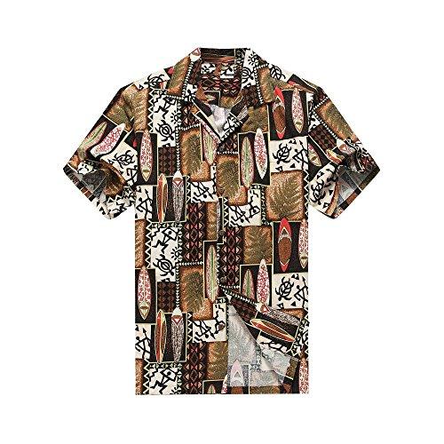 Surfboards Hawaiian Shirt (Made In Hawaii Men's Hawaiian Shirt Aloha Shirt 2XL Quilt Patch Leaf Surfboards Turtle In Brown)