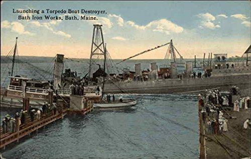 Launching a Torpedo Boat Destroyer, Bath Iron Works Bath, Maine Original Vintage Postcard