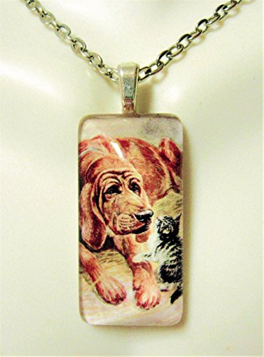 Bloodhound and kitten pendant and chain - DGP12-057