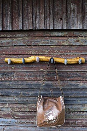 Rustic Coat Hanger - Coat Rack with Beach STONES - Wall mounted solid oak towel rack - Stone robe hooks