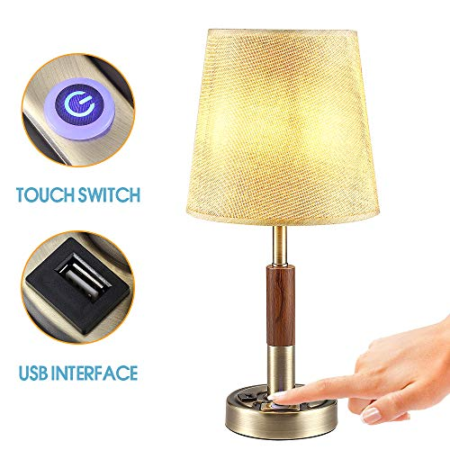 (Nightstand Lamp with USB Port, Touch Control Bedside Table Lamps, Bronze Desk Lamp with Fabric Shade for Bedroom, Living Room, Office)