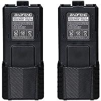 2pcs Original Baofeng 3800mAh Li-ion Battery High Capacity Big Spare Battery For Baofeng Walkie Talkie DM-5R UV-5R UV-5RE Plus BF-F8HP UV-5RTP Serie (2, Black)