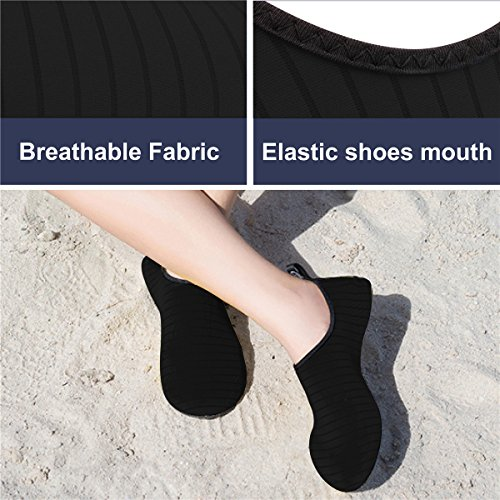 JIASUQI Mens Athletic Beach Walking Sandals Water Skin Shoes Black US 7.5-8.5 Women, 6.5-7.5 Men