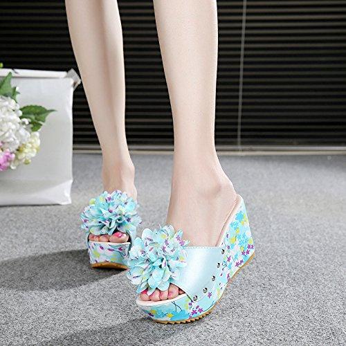 casual moda dulce b aire tacón flores verano zapatillas playa inferior antideslizante de sandalias libre damas al alto grueso zapatos FLYRCX de BnIXa0