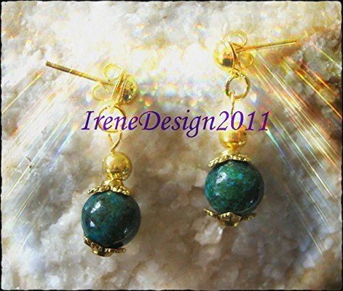 Gold Stud Earrings with Chrysocolla