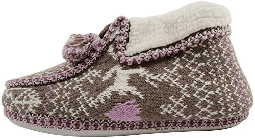 Booties Style Womens Ladies Indoors Slippers Brown Shoes Purple Knitted wtUZqgZO6