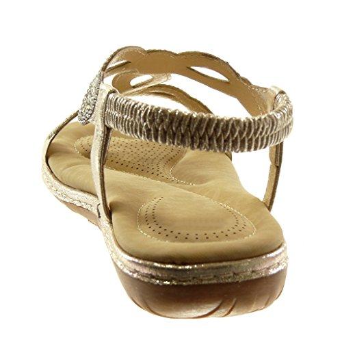 Angkorly Zapatillas Moda Sandalias Slip-On Correa Correa de Tobillo Mujer Strass Fantasía Acabado Costura pespunte Tacón Plano 3 cm Oro