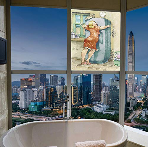 YOLIYANA Stained Glass Window Film,Funny,for Bathroom Shower Door Heat Cotrol Anti UV,A Plump Woman Embracing The Fridge with Passion,17''x24''