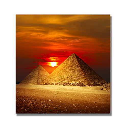 Modern Landscape Canvas Print Egyptian Pyramids in The Sunset