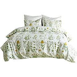 Linen_specialist Duvet Cover Set Floral With Zipper Closure,Yellow Flowers and Green Leaves Pattern Printed on White, 100% Microfiber Bedding Sets for Women Girls - Queen Size