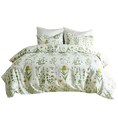 Linen_specialist Duvet Cover Set Floral With Zipper Closure,Yellow Flowers and Green Leaves Pattern Printed on White, 100% Microfiber Bedding Sets for Women Girls - Queen (Flowers Quilt Pattern)