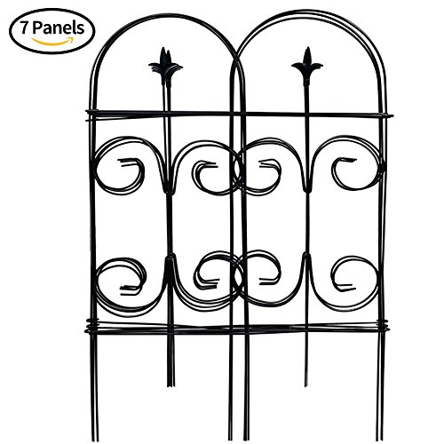 Amagabeli Decorative Garden Fence 32in x 12ft Fencing Rustproof Black Iron with Fleur De Lis Decoration Folding Wire Patio Fencing Border Edge Sections Edging Flower Bed Barrier Decor Patio (Picket Edging)