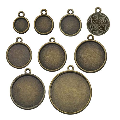 64pcs Mixed Blank Round Pendant Trays Collection, Single Sided, Antique Bronze Tone, Fit 8mm 10mm 12mm 14mm 16mm 18mm 20mm 25mm Cabochon, Base Setting Bezel Frame Cameo (HM167)