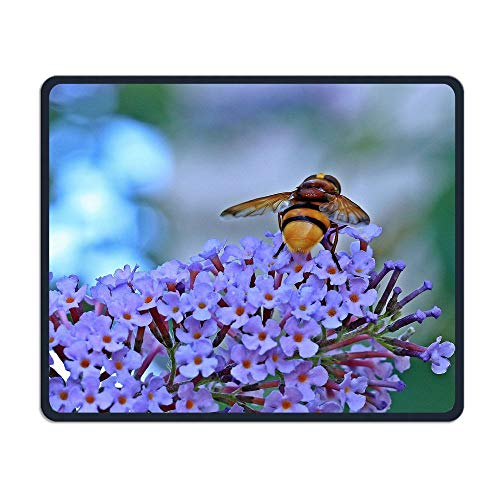 Beautiful Honeybee Purple Flower Anti-Slip Personalized Designs Gaming Mouse Pad Black Cloth Rectangle Mousepad Art Natural Rubber Mouse Mat with Stitched Edges 9.811.8 Inch