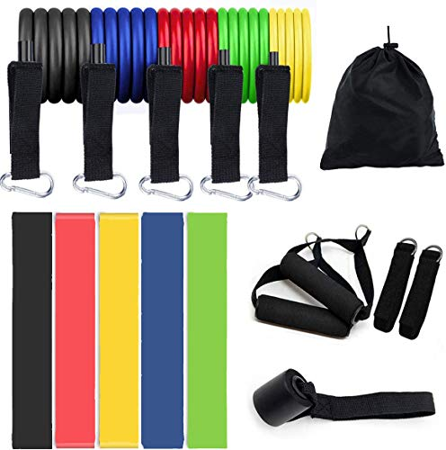 Resistance Bands Set (16pcs) Exercise Bands with Door Anchor Handles Ankle Strap and Carrying Bag Legs Ankle Straps for Resistance Training Physical Therapy Home Workouts