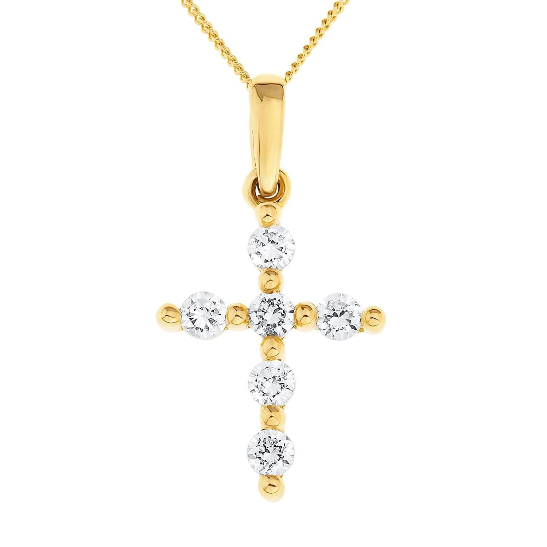 collier femme avec pendentif croix or jaune 9 carats 0 9 gr oxyde de zirconium ebay. Black Bedroom Furniture Sets. Home Design Ideas