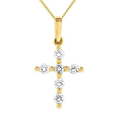Ornami Glamour 9ct Yellow Gold Ladies' Small Cubic Zirconia Cross on 46cm Curb Chain qT2F6uSjRw